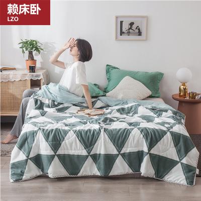 賴床臥(LZO)家紡  夏被床上用品田園纖維面料被子芯學生宿舍夏涼被空調被1.8米/1.5米床單雙人