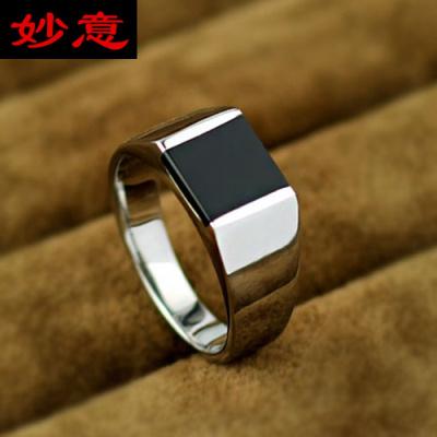 妙意复古欧美韩版黑玛瑙戒指男女士宝石钛钢指环男食指戒子可刻字