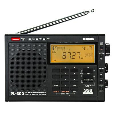 德生收音機PL-600 黑色 全波段數字調諧立體聲充電 高考 校園廣播 二次變頻 附室外天線