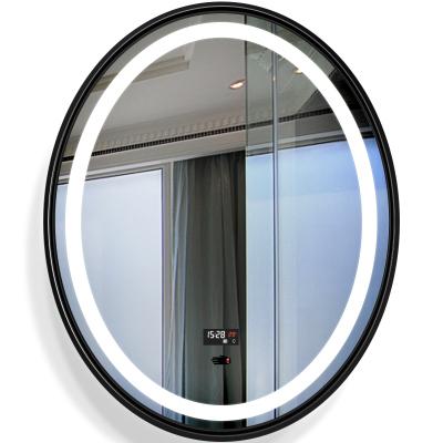 法蘭棋歐式鋁合金框浴室鏡洗手鏡橢圓形衛生間壁掛鏡梳妝化妝鏡簡約鏡子