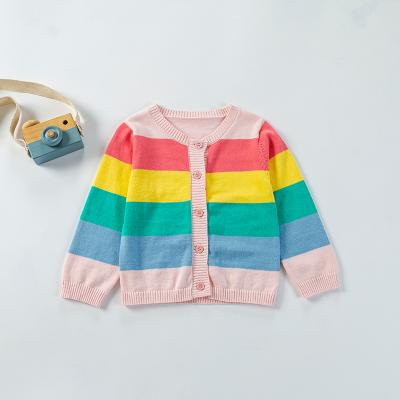 拉里寶貝Lioniebaby童裝兒童毛衣寶寶針織外套兒童針織衫女童彩虹色開衫2020春款新品女童LN01WS016