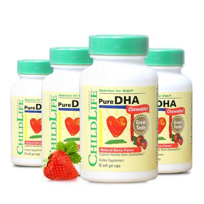 【DHA小精豆囤貨裝】美國童年時光 兒童dha鱈魚油DHA膠囊4瓶 90粒/瓶裝 6個月-12歲
