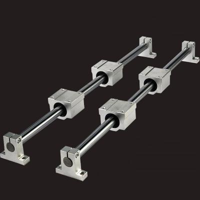 光軸導軌 重型光桿滑軌 直線軸承高精度木工鋸臺軌道 推臺鋸直線滑塊滑座滑臺滑竿軸 滑道座立 直徑10*300MM如圖全套