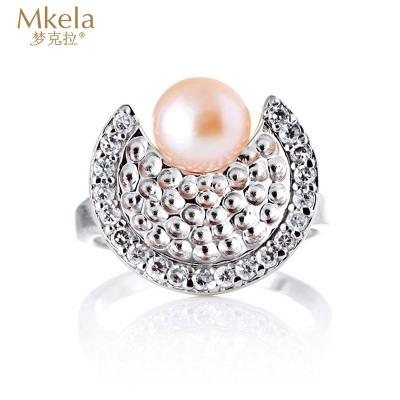 梦克拉Mkela s925银镶珍珠戒指 海的女儿 女式戒指 淡水珍珠 戒指 珍珠 镶嵌白银 送恋人