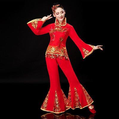 秧歌服女2019套裝中老年喜慶扇子舞腰鼓服裝成人廣場舞演出服 紅色