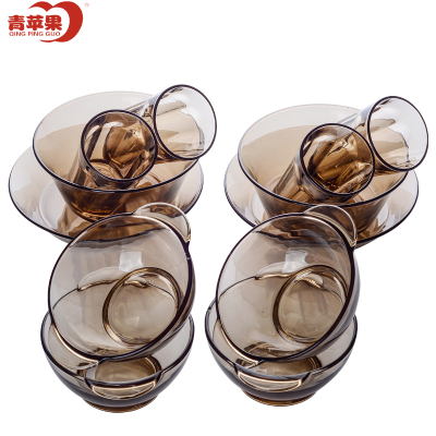 青蘋果法式鋼化玻璃餐具套裝12件套 餐盤沙拉碗 水果碗碟盤 碗碟套裝