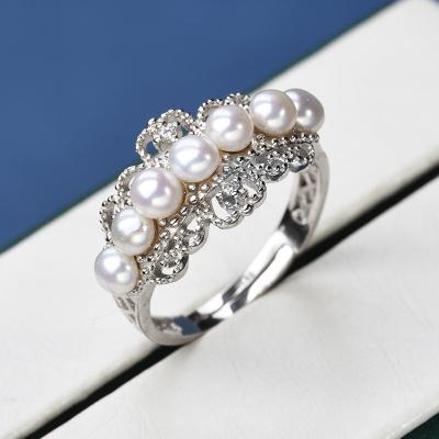 爱戴妮 S925银珍珠戒指3.5-4mm扁圆白色 ADN407