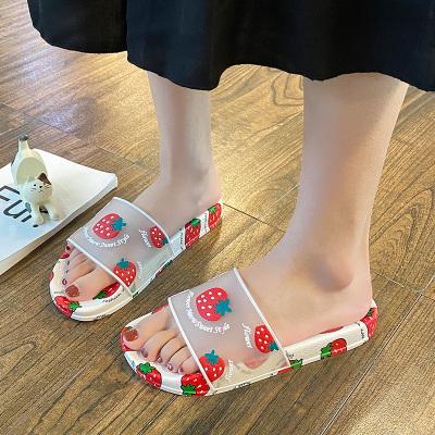跨馬KYMA【品質拖鞋】2020夏季新款時尚可愛少女心水果草莓拖鞋女外穿度假沙灘平底一字拖T