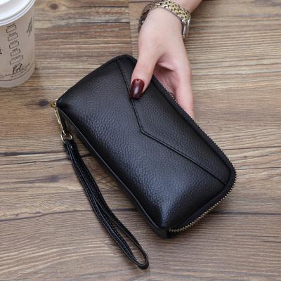 歌洛兹德大容量手包2019新款手拿包女士钱包头层牛皮长款拉链手机包女包手抓包手腕带