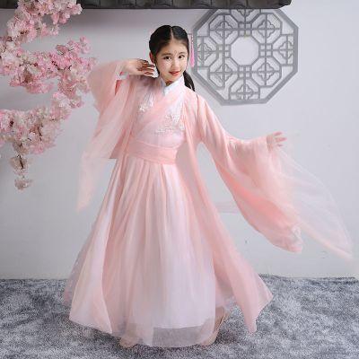 圣誕節兒童古裝漢服女楊紫錦覓同款香蜜仙女服中國風古代公主演出服攝影