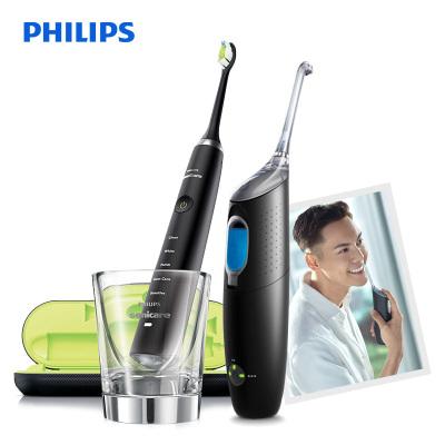 飛利浦(Philips) 口腔護理套裝HX8471/03黑色 電動牙刷+沖牙器成人通用 5大潔齒模式 自動噴流 清潔口腔
