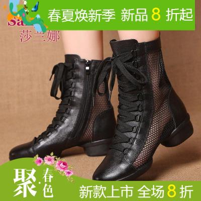 莎兰娜夏季舞蹈鞋广场舞鞋女真皮软底跳舞鞋面爵士舞水兵舞靴子