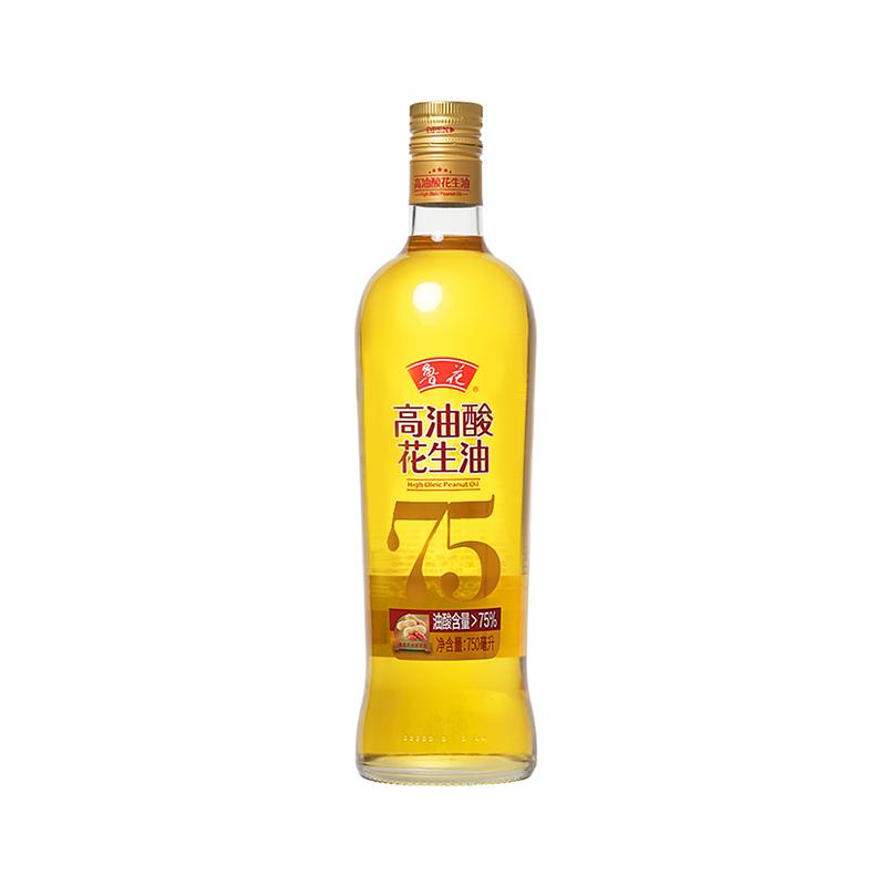 鲁花 食用油 5S 物理压榨 压榨一级 高油酸花生油750ml BK