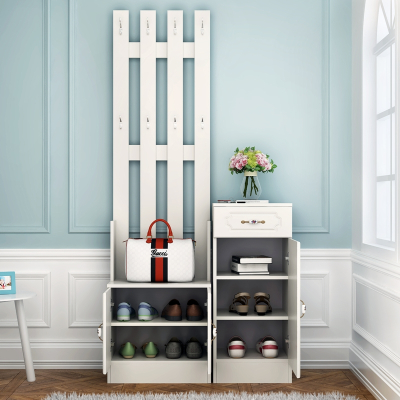 衣帽架口玄关鞋柜带挂衣架一体组合简约现代落地家用卧室厅柜定制! 3门简欧、暖白色