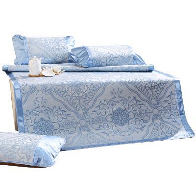 富安娜(FUANNA)家纺 馨而乐凉席/凉枕纯色1.8m床双人凉席套件夏季凉席套件冰丝席
