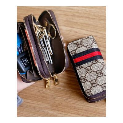 现代男孩 欧美简约女士双拉链钥匙包男士汽车锁匙包多功能大容量零钱包卡包(XIANDAINANHAI)