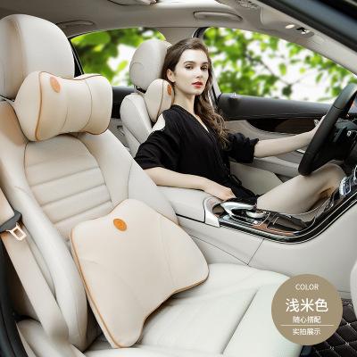 歐因汽車頭枕護頸枕車內座椅靠枕車用記憶棉汽車腰靠背靠腰墊透氣排汗