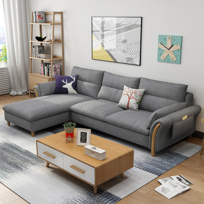 尋木匠北歐乳膠布藝沙發可拆洗小戶型客廳組合現代簡約整裝家具轉角沙發