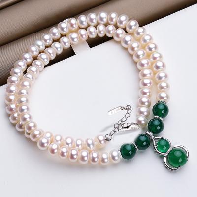 佰色傳情BRIR珍珠項鏈女淡水純銀吊墜玉髓瑪瑙款母親節媽媽