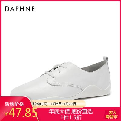 Daphne/达芙妮春新款百搭系带时尚牛皮厚底休闲女单鞋1018101022