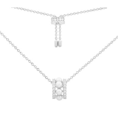 apm MONACO雙圈鑲嵌珍珠項鏈女 氣質設計感時尚925銀吊墜滑動圓環鎖骨鏈可調節長短