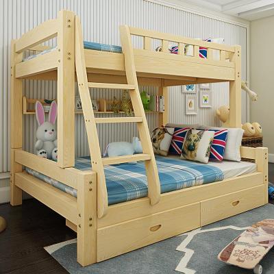實木兒童床松木上下床高低床母子床子母床雙層床上下實木床上下鋪 原木上115下135【送床墊】 其他只有高低床