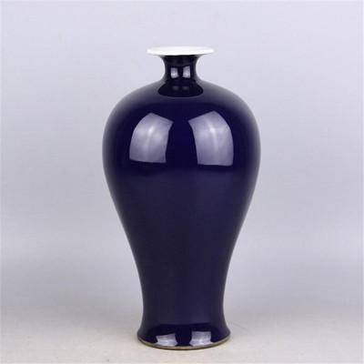 每日精进(enhancement)大清乾隆年制祭蓝单色釉梅瓶 做旧手工仿古瓷器 古玩古董收藏摆件