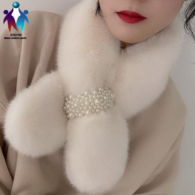 【厂家直营】珍珠毛毛领子围脖冬季女韩版保暖围巾护颈百搭可爱少女仿獭兔毛绒
