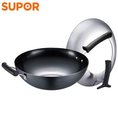 蘇泊爾(SUPOR)臻鐵不易銹炒鍋32cm家用炒菜鍋無涂層不易銹99%純鐵鍋正品FC32T1