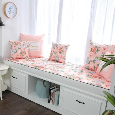 BONJEAN金粉玫瑰印花飄窗墊窗臺墊定做簡約現代沙發墊田園臥室榻榻米陽臺