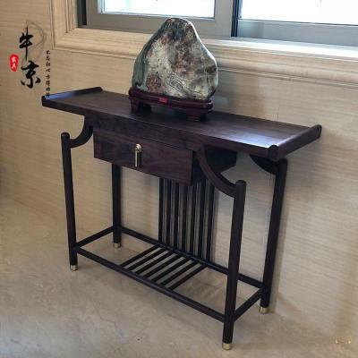 新中式胡桃木实木玄关桌子现代简约供桌入户端景台案台玄关柜定制
