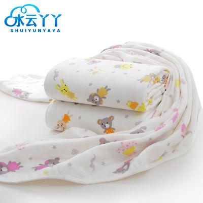 水云丫丫紗布被兒童棉被空調被印花被單人學生被紗布毛巾被 寶寶純棉童被110*110cm