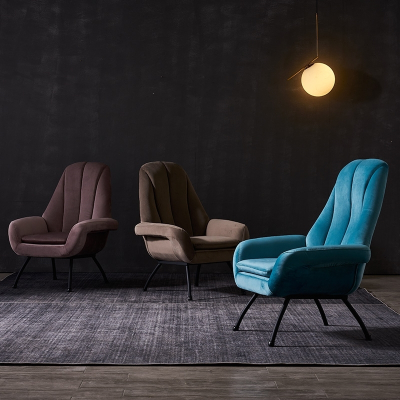 北欧设计师休闲椅ins天鹅绒扶手烟粉3色阳台卧室布艺轻奢单人沙发 孔雀蓝