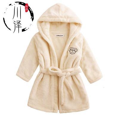 【新年特卖】双层加厚秋冬季儿童法兰绒浴袍浴衣睡衣睡袍加厚带帽浴袍