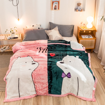 J.H.Longess 拉舍尔毛毯短毛绒毯加厚双层秋冬保暖毯子沙发盖毯