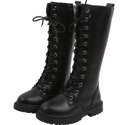 英倫復古兒童皮靴中大童加棉高筒靴時尚長靴軟底女童機車馬丁靴女劉家琦