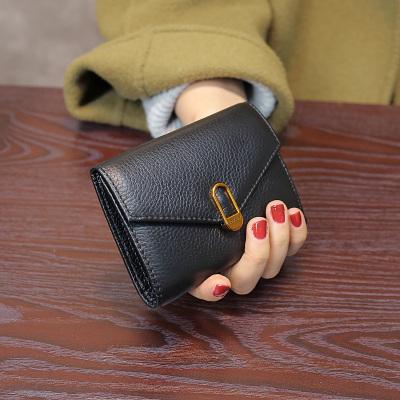 歌洛茲德真新品2019新款頭層牛皮女士短款錢包簡約三折搭扣多功能多卡位錢夾皮夾