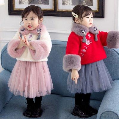 汉服女童古装衣服女儿童唐装冬款拜年服宝宝秋冬套装小女孩表演服 臻依缘