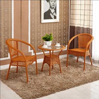 京好 藤椅子茶几三件套五件套组合 现代简约环保高档办公阳台休闲户外家具E79