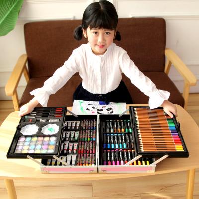 兒童繪畫套裝玩具繪畫文具套裝禮盒畫畫玩具畫筆蠟筆水彩筆小學生禮物用品 雙層鋁合金168件套粉色