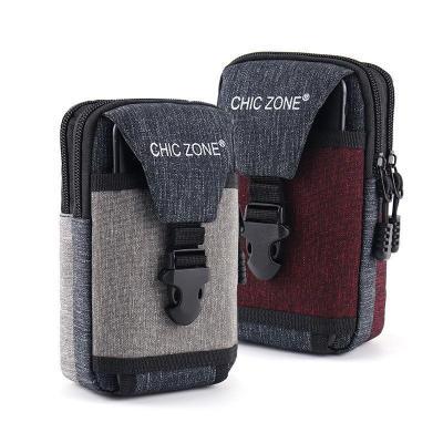 新款6.5寸手機腰包男穿皮帶手機套腰帶掛包多功能零錢手機包防水