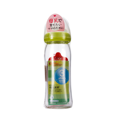 Pigeon 贝亲 母乳实感 宽口径 耐热玻璃奶瓶 淡绿色 240ml 日本原装进口