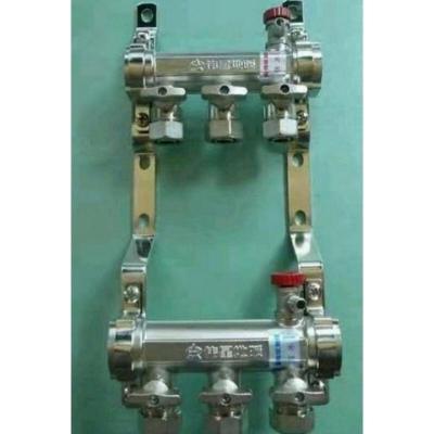 地暖分水器一体锻造铜镀镍双球阀地热分水器采暖分水器