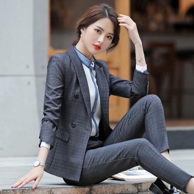 Mr female/女先生女士套裝 2019新款女裝格子西裝套裝韓國英倫風職業裝時尚氣質女士小西服正裝工作服制服