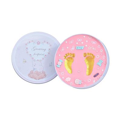 【禮盒裝】澳樂寶寶腳印手足印泥胎毛紀念品DIY自制新生嬰兒童百天滿月周歲禮物藍盒藍色