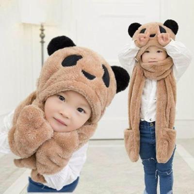 秋冬天儿童围巾帽子手套三件套一体护耳帽围脖加厚男女童学生脖套 莎丞