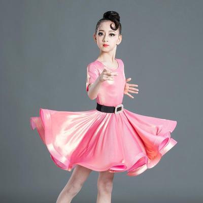 【蘇寧好貨】拉丁舞服兒童拉丁舞裙女童霧金舞蹈練功服少兒考級表演服比賽規定服連衣裙