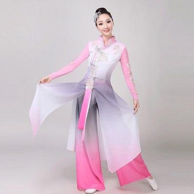 古典舞演出服女飄逸中國風仙女清新淡雅秧歌服扇子舞風箏誤舞蹈服