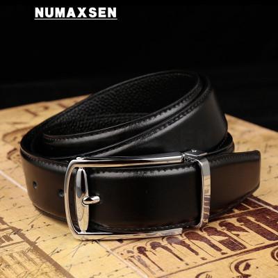 Numaxsen品牌皮帶男真皮針扣年輕人百搭簡約中青年純牛皮褲帶男商務正裝褲腰帶男 黑色