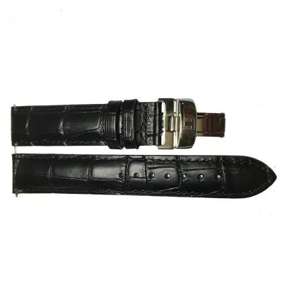天梭(TISSOT)力洛克系列男表帶 真皮表帶 19mm黑色銀扣表帶120cm